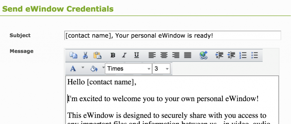 eWindow Credentials to group3